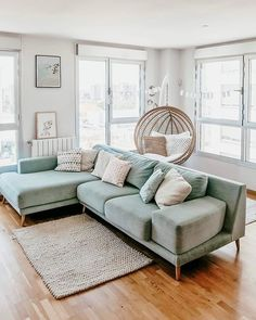 ▪️Scandinave home 💫 Inspi Blue Couch Living Room, Light Blue Sofa, Cosy Living Room, Simple Living Room Decor, Romantic Living Room, Living Room Designs, Couches Living Room, Light Blue Sofa Living Room, Green Couch Living Room