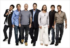 pictured from left to right, Jeremy Jackson, Christopher Atkins, Jamie Walters, Billy Hufsey, Eric Nies, Adrian Zmed, and David Chokachi