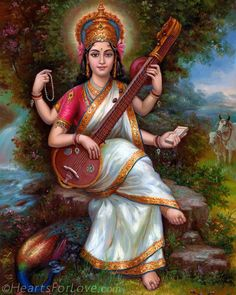 God number 25 goddess of knowledge and music and wife of Brahma saraswati devi Saraswati Mata, Saraswati Goddess, Lord Saraswati, Orisha, Indian Goddess, Divine Mother, Mother Goddess, Hindu Deities, God Pictures