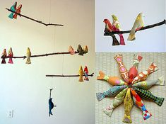 DIY hand-sewn #birds. Instead of mobiles, I'll place this on the tree in beautiful colors of red, silver or gold.