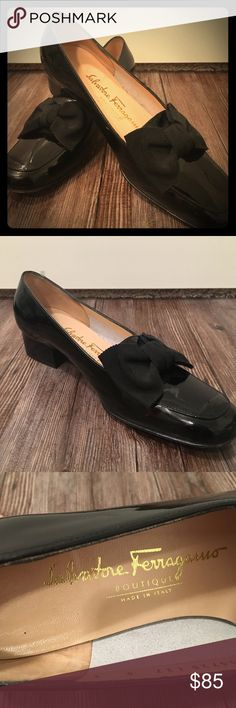 Ferragamo Patent Leather Shoes w/ Grained Bow Sleek, classy Ferragamo shoes with low heels. Gently used. Feel free to request more information or photos! And never hesitate to make us an offer 😊 Salvatore Ferragamo Shoes Heels