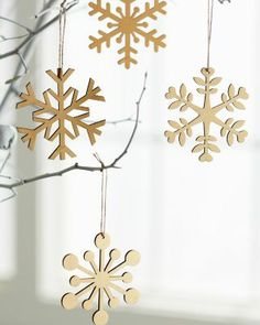 Prefer organic-looking ornaments to those that shine bright? Or simply want to tone down your holiday bling? This set of six laser-cut wooden ornaments is for you. Handmade in Lithuania. Laser Cutter Ideas, Laser Cutter Projects, Wooden Ornaments, Holiday Ornaments, Holiday Decor, Laser Cut Wood, Laser Cutting, Objet Deco Design, Gravure Laser