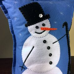 Skiing Snowman Pillow   Felt Pillow   Christmas decor   Christmas Pillow   Holiday decor   Blue and white   One of a Kind by TiffinyDesigns on Etsy