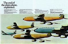 The end of the plain plane, explained. Braniff International ad.