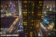 SinCity - Marriott Marquis Doha - Pinned by Mak Khalaf SinCity - I Am Looking At You Through The Dirty Glass City and Architecture ArchitectureCityCityscapeDohaEveningHotelLong exposureLongexposureMarriottQatar by Smaq2013