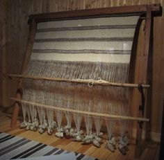 Sami Vertical or Warp Weighted loom with textile exhibited at Norsk Folkemuseum…
