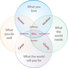 What you do, what you love, what the world needs, what the world will pay for, #bliss. Source unknown.
