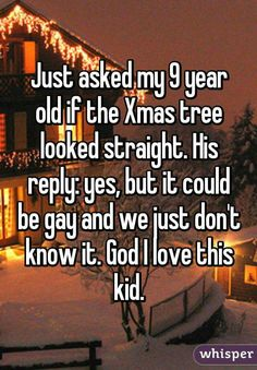 Just asked my 9 year old if the Xmas tree looked straight. His reply: yes, but it could be gay and we just don't know it. God I love this kid. <<<Whoever this person is, this is parenting definitely done right! Lgbt Quotes, Lgbt Memes, Funny Quotes, Funny Memes, Jokes, Haha, Whisper Quotes, Whisper Confessions, Lgbt Love