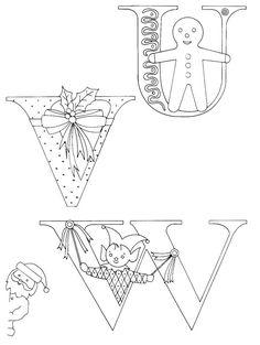 Christmas alphabet (U, V, W) - Cotton Arts Boutique Embroidery Alphabet, Cross Stitch Embroidery, Embroidery Patterns, Hand Embroidery, Christmas Alphabet, Illustration Noel, Christmas Coloring Pages, Christmas Embroidery, Christmas Colors