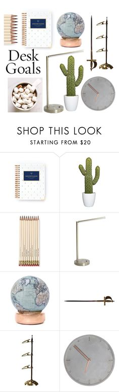 """desk"" by maryschvaneveldt on Polyvore featuring interior, interiors, interior design, home, home decor, interior decorating, Kate Spade, Room Essentials and Bellerby & Co"