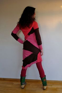 Upcycled Cashmere Hoody Sweater Dress Fuschia Pink & Chocolate                                              Made in England UK