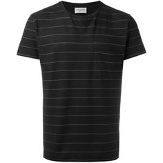 Saint Laurent Striped Round Neck T-shirt ($505) ❤ liked on Polyvore featuring men's fashion, men's clothing, men's shirts, men's t-shirts, yves saint laurent mens shirt, mens striped short sleeve shirt, mens straight hem shirts, mens short sleeve shirts and men's round neck t shirts
