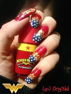 Wonder Woman nails! Omg I want these! To wear with Wonder Woman Underoos!  I had a pair when I was 6 and I.remember how much I loved those things!!
