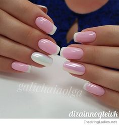 Pink and white gel manicure | Inspiring Ladies