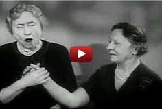 Footage of Helen Keller speaking with her hands and her voice