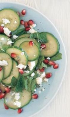 chopped cucumber salad with pomegranate, feta and mint
