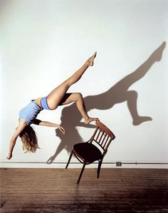 The last series of Sam Taylor-Wood's that I have looked into is called Bram Stoker's Chair. This series links with her Suspended series in that they both show the artist seemingly poised in mid-air. These photos have the added element of the chair being there for her to balance on, giving her more of a physical connection with her surroundings.