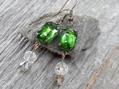Emerald City-Handmade Dangle Earrings-Vintage Emerald Green Prong Set Crystals-Accent Crystals w/ Antiqued Brass Metal by JoeisStuff on Etsy