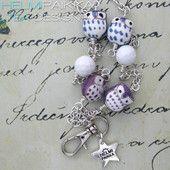 Kulkukorttikoru siniset ja lilat pöllöt 30€ #avainkaulakoru #pöllökoru #pöllö #owlies #idbadge #avainkaulanauha