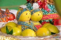 bride and groom decorated in orange fruit marriage engagement wedding fruit theme wedding Fruits Decoration, Thali Decoration Ideas, Diwali Decorations, Stage Decorations, Festival Decorations, Flower Decorations, Basket Decoration, Desi Wedding Decor, Indian Wedding Decorations