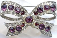 Antique Purple Rhinestone Bow Brooch by TheJewelryLadysStore