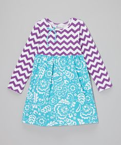 Look what I found on #zulily! Plum & Blue Zigzag Floral Dress - Infant, Toddler & Girls by Flap Happy #zulilyfinds