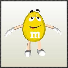 M&M's - Yellow Free Papercraft Download - http://www.papercraftsquare.com/mms-yellow-free-papercraft-download.html