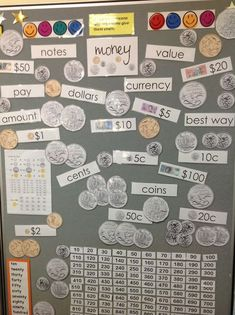Check out this coin display that includes Australian money vocabulary and big pictures of all of the different coins. This would be great for little learners!
