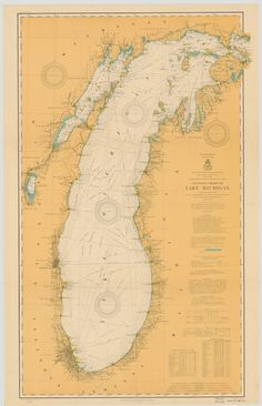 A beautiful, high quality print of the historical map of Lake Michigan from 1909. This map is professionally printed on top of the line digital equipment. It is printed on high quality paper in authen