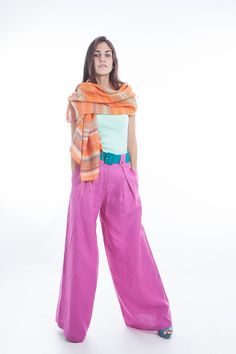 love theis #pantonecolor of the year for the linen pnats :) Great alternative to my fav color purple   LINEN PANTS Custom made High Waisted Baggy Trousers Japanese Samurai style in Radiant Orchid