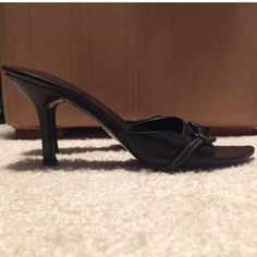 Gucci sandals All leather black slip on pointy sandals with horse bit detail over the toes. Pre-loved but still has a lot to offer! No major scratches or signs of wear. Gucci Shoes Sandals