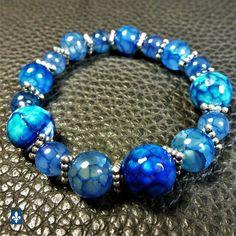 ❤ Superb Blue Tones Veined Agate Plated Silver Stretchy Bracelet #Bracelet