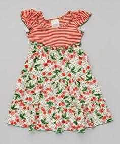 Love this Orange & Ivory Cherry Angel-Sleeve Dress - Toddler & Girls on #zulily! #zulilyfinds