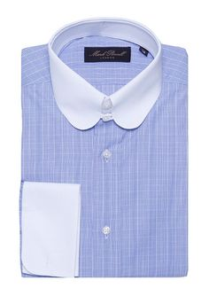 Round Tab Collar Shirt Checked Blue/white | Mark Powell