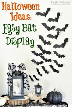 Spooky and glam Halloween ideas featuring an easy bat display will make your Halloween entryway decor stand out! You'll have this project done in no time! Halloween Decorations To Make, Easy Halloween Crafts, Halloween Home Decor, Halloween Bats, Halloween Projects, Halloween Party Decor, Holidays Halloween, Halloween Ideas, Fall Decorations