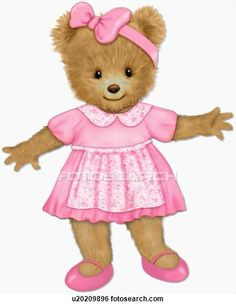 Teddy bear in pink dress