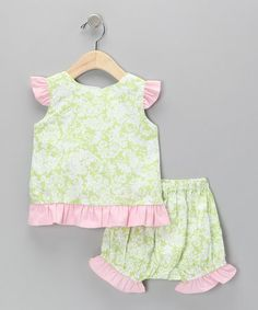 Take a look at this Green & Pink Damask Top & Ruffle Bloomers - Infant by Beehave on #zulily today!