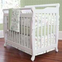 Sage Green Toile Mini / Portable Crib Bedding by Carousel Designs.