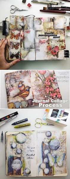 Marta Lapkowska: Art Journaling, Updates, Wanderlust and more 🙂 Marta Lapkowska: Art Journaling, Updates, Fernweh und mehr 🙂 Manualidades Kunstjournal Inspiration, Art Journal Inspiration, Journal Ideas, Collage Kunst, Collage Art, Mixed Media Journal, Mixed Media Art, Art Journal Pages, Art Journals