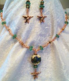$22.00 Hummingbird Lampwork Necklace Earrings Set Handmade Wire Wrapped Blue Green #Handmade #Pendant nature, wildlife, bird, hummingbird, boho, bohemian, casual wear, fashion jewelry