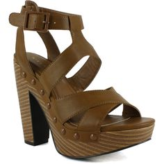 Womens Platform Sandals Strappy Buckle Accent Platform Shoes Tan SZ... (14.800 CRC) ❤ liked on Polyvore featuring shoes, sandals, tan, wooden shoes, wood sandals, wooden platform sandals, strappy platform sandals and strap sandals