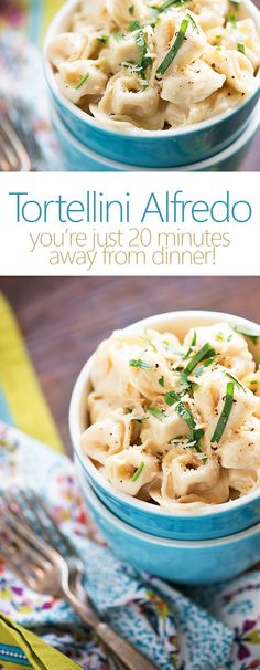 Grab some simple, fresh ingredients and whip up a batch of Tortellini Alfredo. With a package of ready-made cheese tortellini, the work is already half done - just boil the pasta and add a luscious sauce made of heavy cream, butter, and Parmesan cheese. Tortellini Alfredo, Cheese Tortellini, Italian Dishes, Italian Recipes, Easy Alfredo Recipe, Salsa Alfredo, I Love Food, Pasta Dishes, Food For Thought