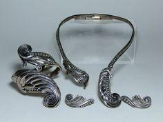 Fine Silver Vintage Margot de Taxco Sterling Silver Hinged Necklace Bracelet Earring Parure Set circa 1950's or earlier DanPickedMinerals
