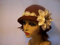 Flapper Inspired Brown Cloche with Ivory by MixedMediabyBridget, $80.00