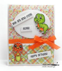 North Coast Creations Stamp Set: You are Dino-Mite, North Coast Creations Custom Dies: Dinosaurs, Our Daily Bread Designs Custom Dies: Log Cabin Quilt, Bitty Borders, Pierced Rectangles, Pierced Ovals, Our Daily Bread Designs Paper Collections: Birthday Brights, Birthday Bash
