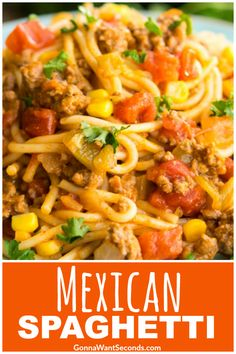 Our Easy Mexican Spaghetti Recipe is a delicious One Pot wonder! Filled with beef, pasta, tomatoes, corn and taco seasoning, this is a meal the whole family will love! Its also finished with a cheesy topping. Mexican Spaghetti is perfect for a busy weekni Top Recipes, Dinner Recipes, Cooking Recipes, Cocktail Recipes, Easy Mexican Food Recipes, Mexican Desserts, Cooking Pasta, Fast Recipes, Drink Recipes