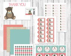 Teddy Bear Picnic Printable Party Package Personalized For Birthday, Bridal Shower, Family Reunion Picnic or Baby Shower