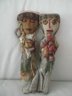 Peruvian South American Chancay Cloth DOLLS Mother Children Musician Folk Art