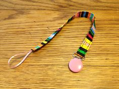 Candy Stripes Pacifier Clip by InStitchesByCarly on Etsy, $5.00