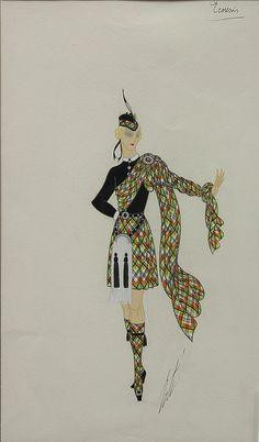 """Artist: Romain (Erté) De Tirtoff (French, 1892-1990); Description: """"Image"""" 2 of a set of 7. Various Costume Design Illustrations; Medium: Gouaches."""